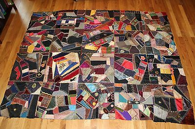 Beautiful Antique Crazy Quilt Top c 1900 with 2 Civil War Reunion Ribbons