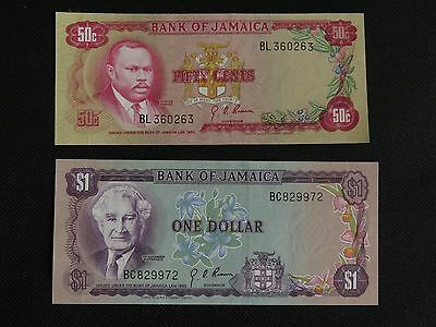 Jamaica 50 cent and $1 Dollar Banknotes