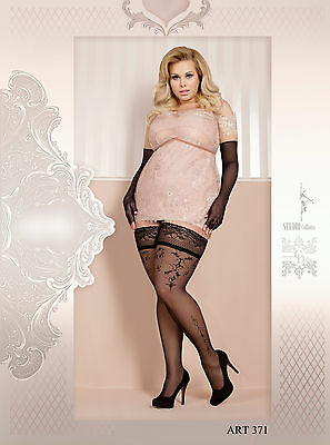 STOCKINGS plus size GERMANY stay-up LACE TOP PLUS SIZE BLACK