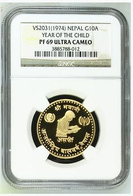 1974 VS2031NEPAL YEAR OF THE CHILD G10A Gold 0.3374oz NGC PF69 U.C.