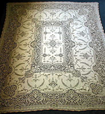 """Antique Quaker Lace Tablecloth 72"""" by 60"""" Victorian style,Early Pattern 5420"""