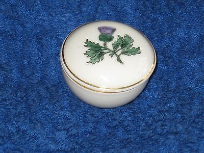 Antique W.h.goss Minature Dish With Lid Showing A Thistle.
