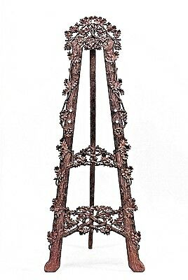 Rustic Black Forest (19th Cent.) Walnut Floral Carved Easel Stand