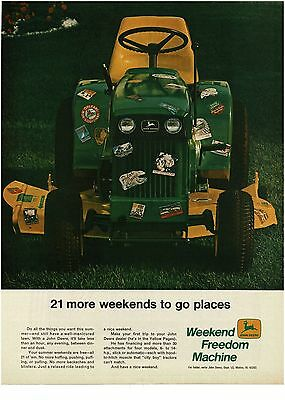 1969 JOHN DEERE 112 Lawn Garden Tractor w Travel Decals All Over It VTG PRINT AD