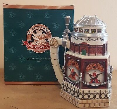 """Anheuser-Busch 1999 Ltd. Ed. Lidded Members Only Stein """"CLYDESDALE STABLE"""""""