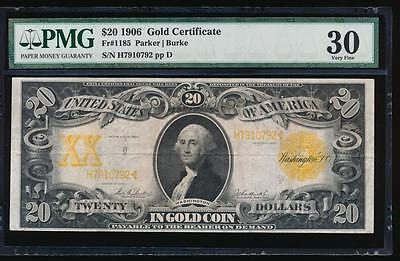 AC Fr 1185 1906 $20 Gold Certificate PMG 30 Parker/Burke tougher year