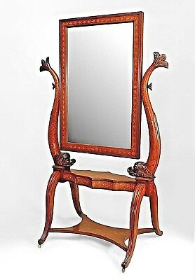 Italian Neo-Classic (19th Cent) Walnut and Inlaid Cheval Mirror on Stand