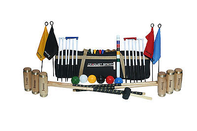 Elite Croquet Set- 6 Player Complete with bag and 4 Ash mallets etc