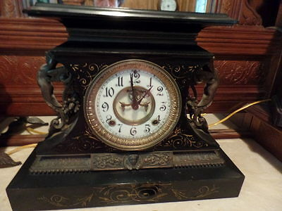 Ansoinia Antique Figural Mantle 1880's 8 Day Clock Running