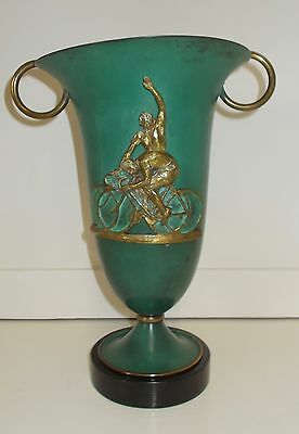 Impressive vintage French cycling trophy. Bronze Cyclists