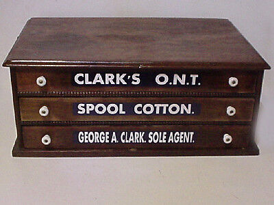 Antique Clark's ONT Advertising 3  Drawer Walnut  Spool Cabinet Country Store
