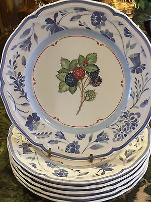 6 Villeroy & Boch  Country Collection Cottage  Blue Stencil Salad Plates