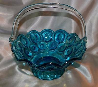 Rare L.E Smith Moon Stars Blue Basket with Clear Handle 6219