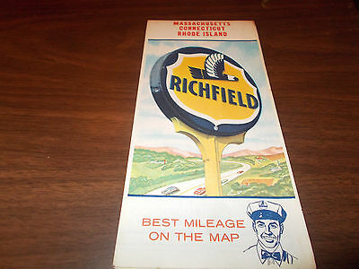 1963 Richfield Massachusetts/Connecticut/Rhode Island Vintage Road Map