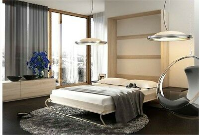 Modern Vertical Wall Hidden Fold Away Pull Out Double Bed 140cm in Beech