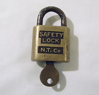 Vintage Brass SAFETY LOCK Padlock with Key Wireman V. Squires