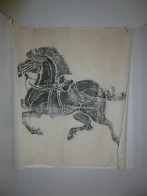 Chinese Asian Temple Stone Ink Rubbing Print on Rice Paper Large Tang Horse