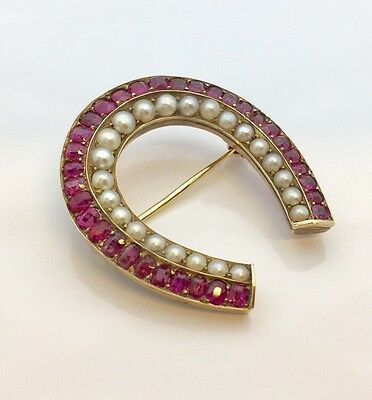 Antique Victorian 14k Horseshoe Pin / Brooch Set With Ruby And Pearl
