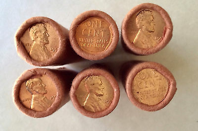 1958-P OBW Bank Wrapped BU OBW Penny Rolls-BRIGHT RED GEMS