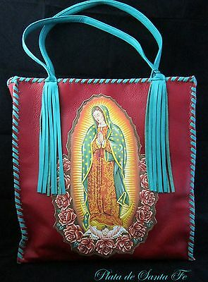 GUADALUPE~ RED~Italian Leather~TURQUOISE~Whip Stitch~Tassels~TOTE