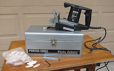 PORTER CABLE 555 PLATE JOINER , CORDED, Electric TYPE 3, USED ,TIN CASE ,BISCUIT