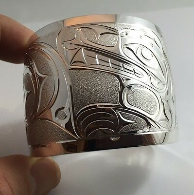 Northwest Coast First Nations Jewellery- Sterling Silver Wolf + Moon Bracelet