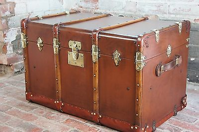 Stunning Tall French Brass Bound Steamer Trunk with Trays