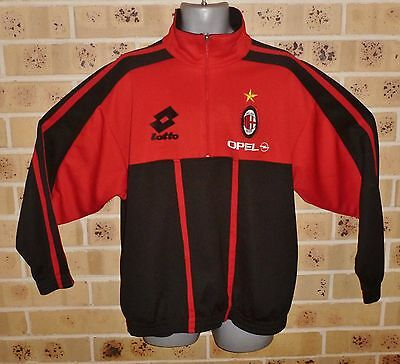 Vintage 1990's Soccer Ac Milan Milano Large Mens Zipped Top Training Top Lotto