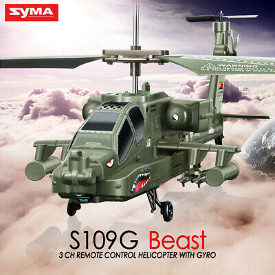 Syma S109G 3.5Ch Apache Mini Remote Control LED Light RC Helicopter With Gyro AU