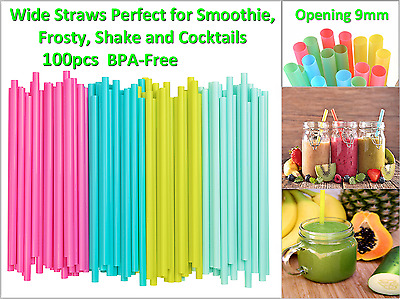 100pcs Wide Straws Perfect for Smoothie, Frosty, Shake and Cocktails - BPA-Free