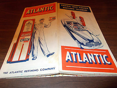 1946 Atlantic Delaware/Maryland/Virginia/West Virginia Vintage Road Map