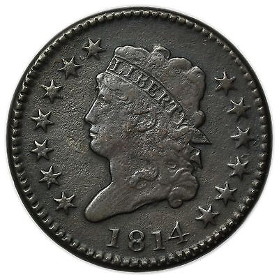 1814 Classic Head Large Cent, Small Very Rare Copper Coin [3206.05]
