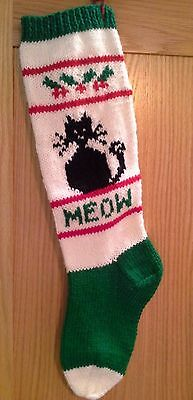 Hand Knitted Personalized Black Cat Christmas Stocking