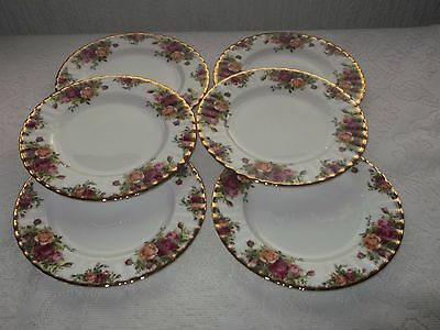 "6 x royal albert old country roses 8"" plates"