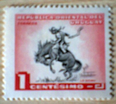 Horse And Cowboy Uruguay 1 Centesimo 1954 Stamp