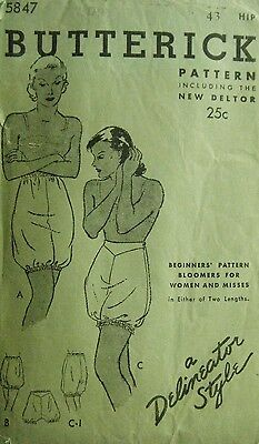 Antique Butterick Delineator  Period Women's Sewing Pattern Bloomers