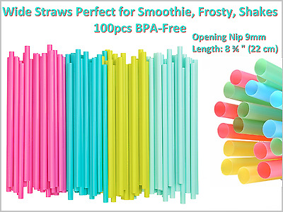 Nip Opening 9mm - Wide Straws Perfect for Smoothie, Frosty, Shakes and Cocktails
