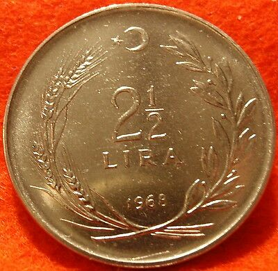 1968 Turkey 2 1/2 Two and One Half Lira Mint Set Coin GEM BU  UNCIRCULATED
