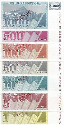 Eslovenia Set Billetes Specimen 1-5-10-50-100-500-1000 Tolarjev