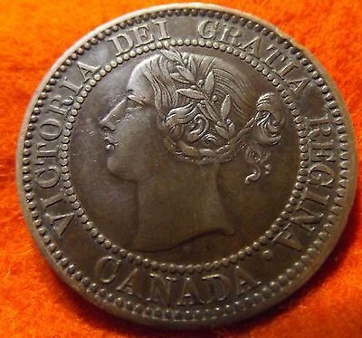 1859 Scarce DP #4 Repunched High Grade CANADA LARGE CENT Victoria COIN CANADIAN