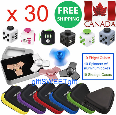 30 Wholesale Aluminum Metal Spinners+Fidget Cubes+Storage Cases FREE SHIP CANADA