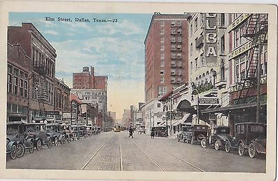 Elm Street Dallas Texas Street View Postcard Old Cars Vaudeville And Pictures