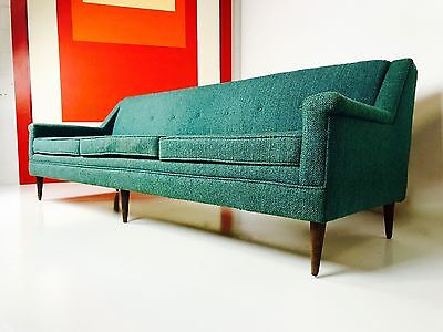 Mid Century Modern Dunbar Attr Long Low Turquoise Sofa W Reversible Cushions
