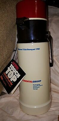 """Vtg Veterans Club Thermos Touch Top 13"""" Vacuum Server Hot & Cold~New"""