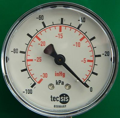 Pressure Gauge 63mm, Vacuum, Bottom Entry, ABS case