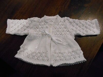 Newborn Baby's White Lace Matinee Jacket & Bootees. Size 0000. Style #1