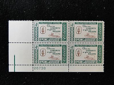 # 1144 Credo-Patrick Henry (LL) Plate Block of 4 Mint NH free shipping