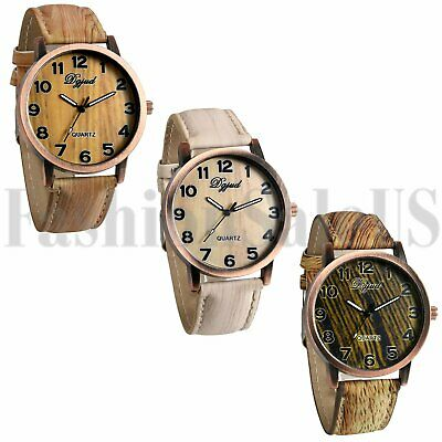 Luxury Men's Wood Grain Watch Quartz Ultrathin Leather Wristwatches Fashion Gift