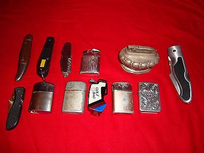 Lot of 7 Vintage LIGHTER & 5 Knife's Used All unknown condition!!