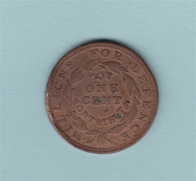 Hard Times Token NOT ONE CENT FOR TRIBUTE MILLIONS FOR DEFENSE MERCHANTS WALL ST